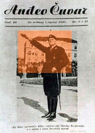 {За дом - спремни!(усташский слоган времен войны) - здравит подполковник Славко Кватерник, а с ним и весь хорватский народ} Наряду с Младеном Лорковичем и Владимиром Кошаком был наиболее пронемецки настроен среди руководства усташей. В конце июля 1941 года совершил визит в Германию, где был принят Гитлером; также встречался с Риббентропом, Кейтелем и другими руководителями Третьего рейха. В конце августа 1941 года его жена покончила жизнь самоубийством, предположительно из-за своего еврейского происхождения и несогласия с политикой террора, которую проводили Кватерник и, особенно, их сын Эвген, известный особой жестокостью.