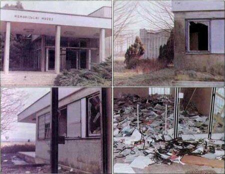 Мемориальный музей Ясеновац. Варварски разрушен в 1991г. Все материалы, пленки и музейные экспонаты уничтожены.